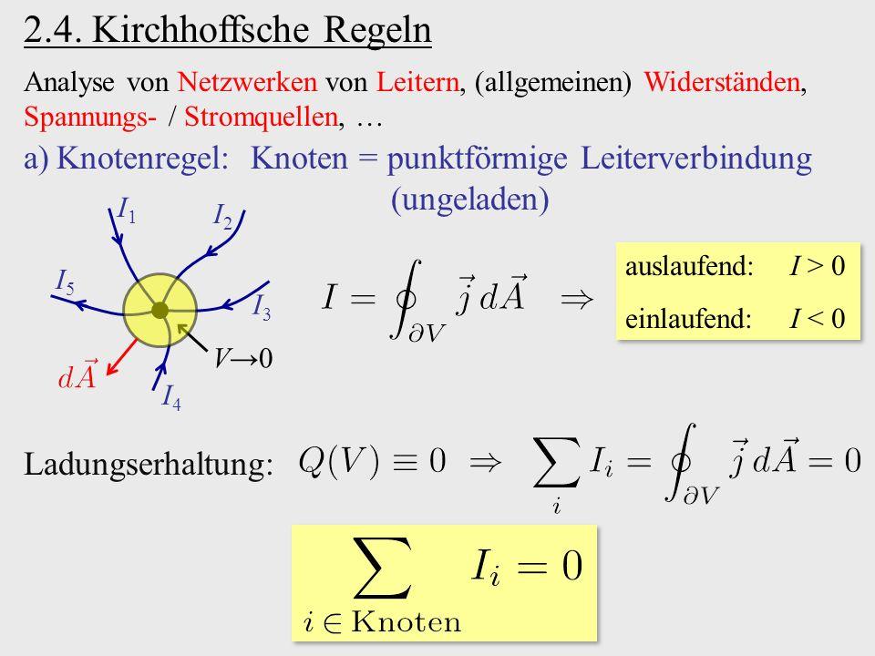 2.4. Kirchhoffsche Regeln Analyse von Netzwerken von Leitern, (allgemeinen) Widerständen, Spannungs- / Stromquellen, …