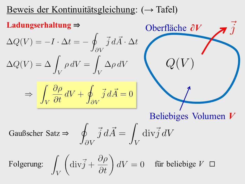 Beweis der Kontinuitätsgleichung: (→ Tafel)