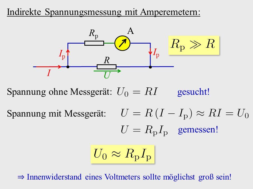 Indirekte Spannungsmessung mit Amperemetern: