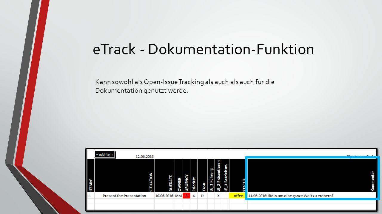 eTrack - Dokumentation-Funktion