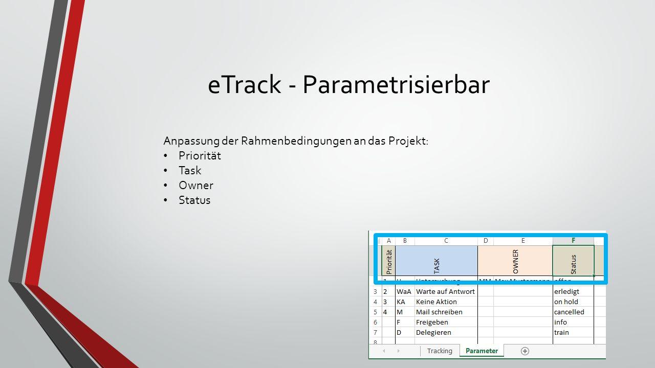eTrack - Parametrisierbar