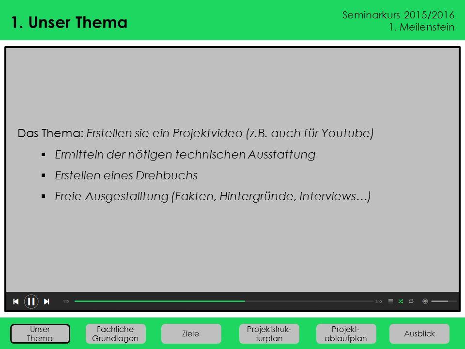 1. Unser Thema Das Thema: Erstellen sie ein Projektvideo (z.B. auch für Youtube) Ermitteln der nötigen technischen Ausstattung.