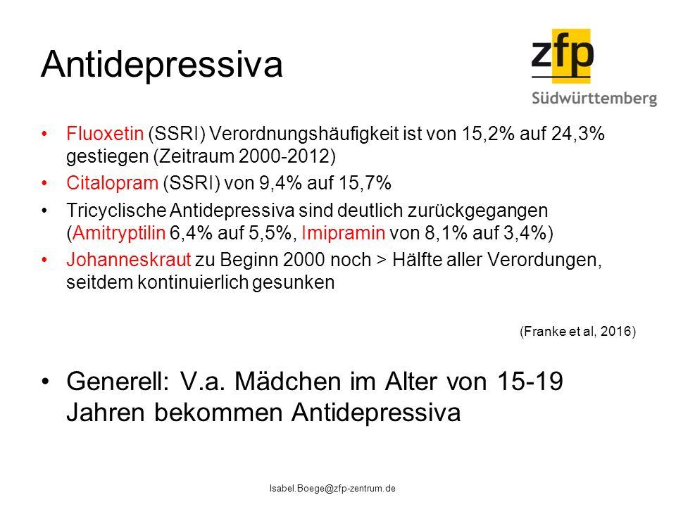Antidepressiva Fluoxetin (SSRI) Verordnungshäufigkeit ist von 15,2% auf 24,3% gestiegen (Zeitraum 2000-2012)