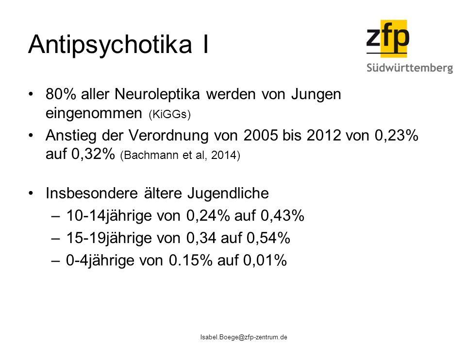 Antipsychotika I 80% aller Neuroleptika werden von Jungen eingenommen (KiGGs)