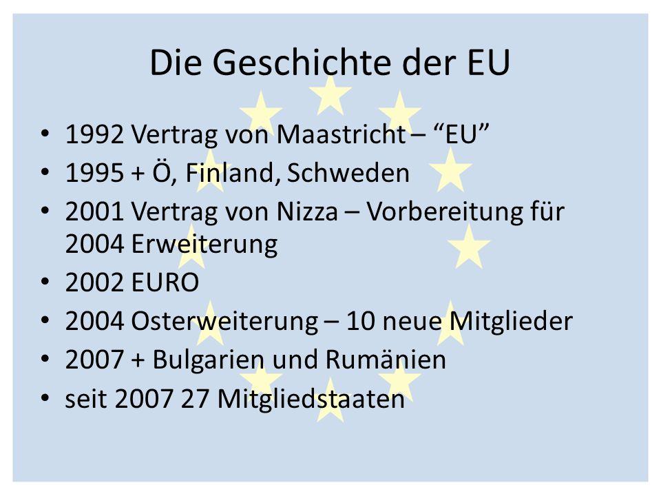 Die Geschichte der EU 1992 Vertrag von Maastricht – EU