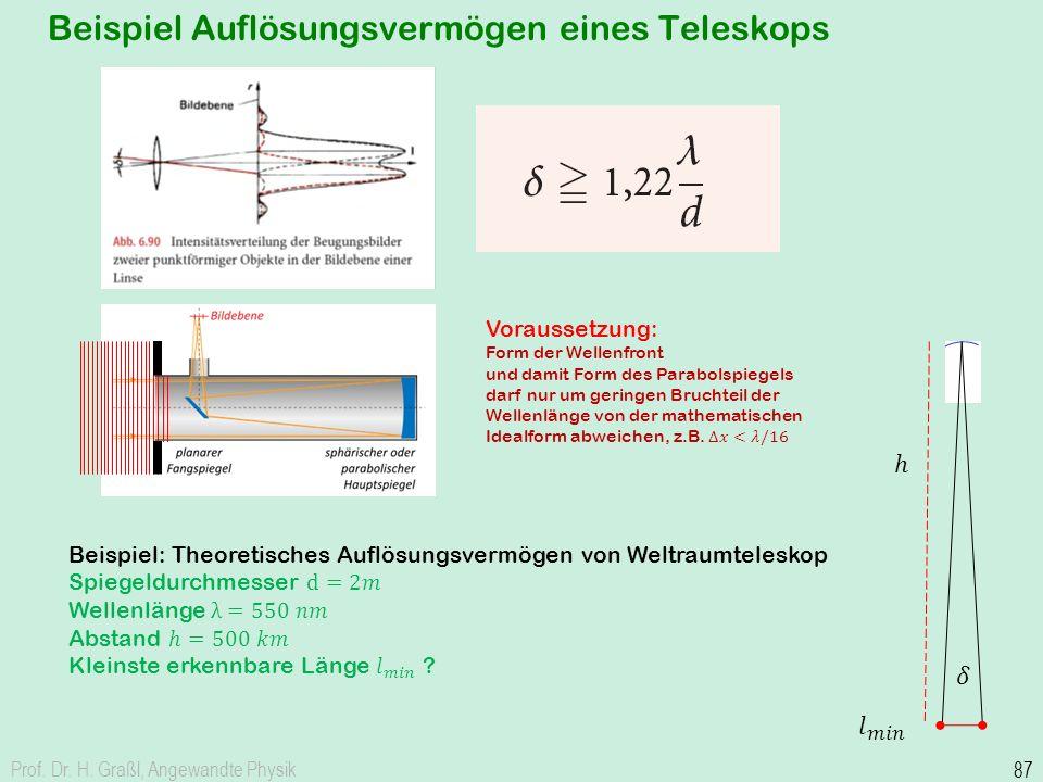 Beispiel Auflösungsvermögen eines Teleskops