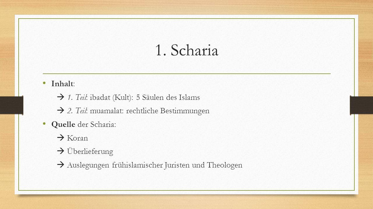 1. Scharia Inhalt:  1. Teil: ibadat (Kult): 5 Säulen des Islams