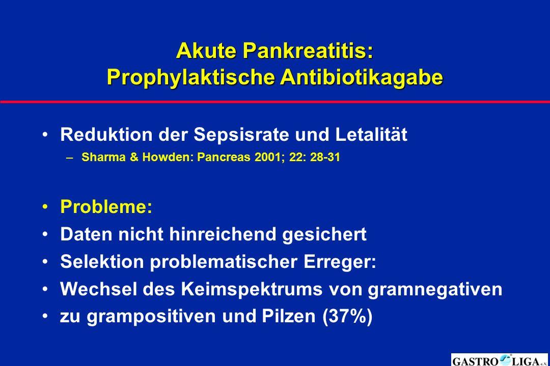 Akute Pankreatitis: Prophylaktische Antibiotikagabe