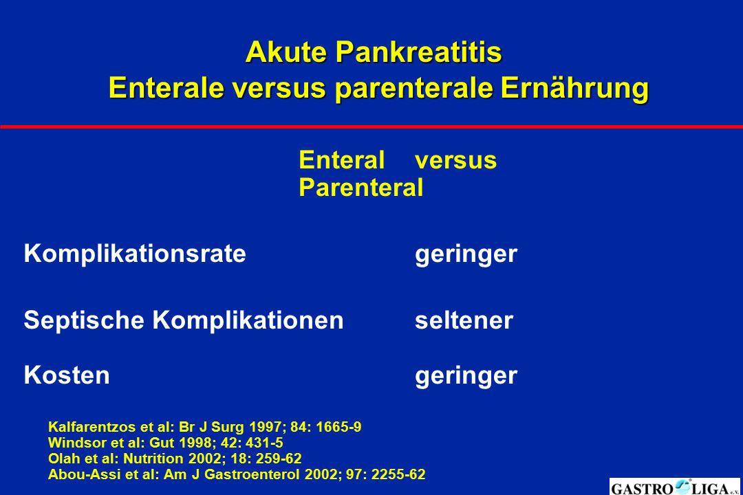 Akute Pankreatitis Enterale versus parenterale Ernährung