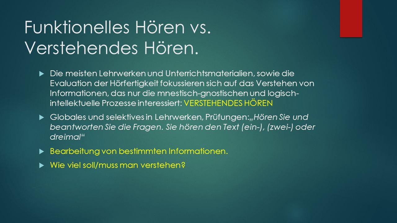 Funktionelles Hören vs. Verstehendes Hören.