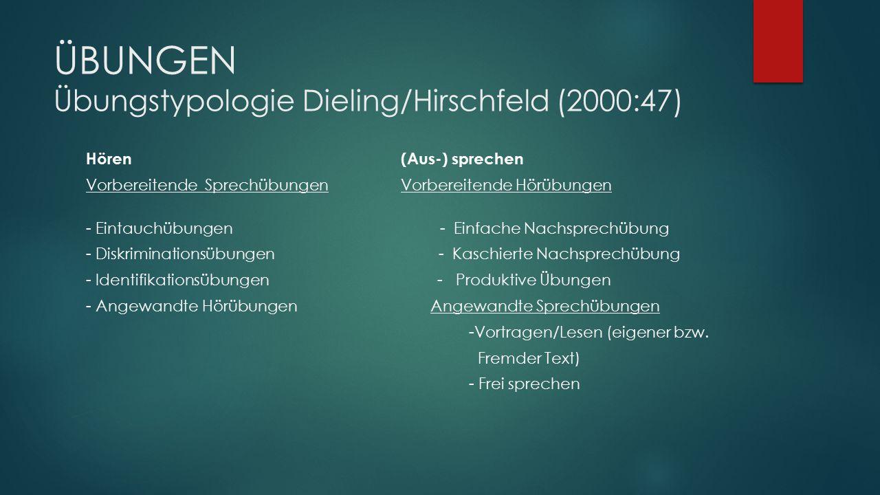 ÜBUNGEN Übungstypologie Dieling/Hirschfeld (2000:47)