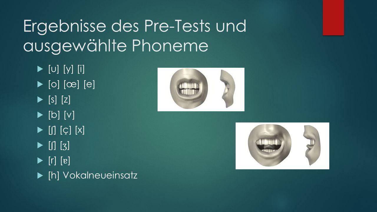 Ergebnisse des Pre-Tests und ausgewählte Phoneme