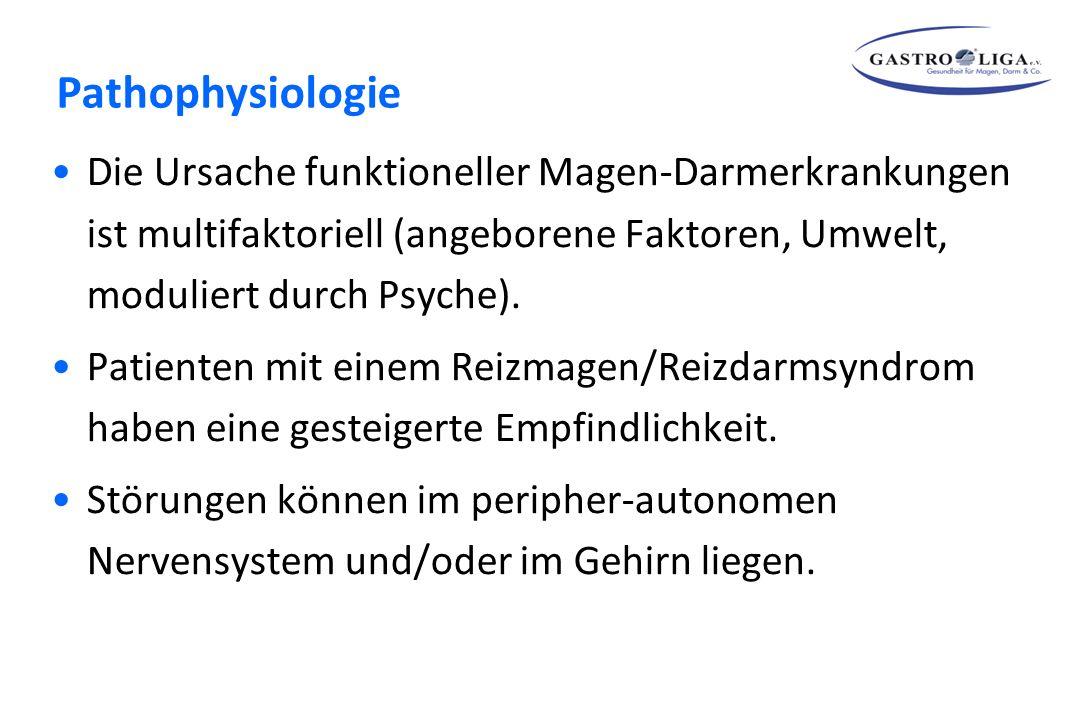Pathophysiologie Die Ursache funktioneller Magen-Darmerkrankungen ist multifaktoriell (angeborene Faktoren, Umwelt, moduliert durch Psyche).