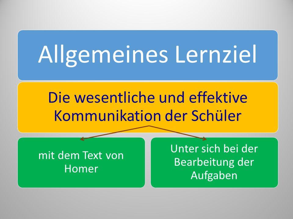 Allgemeines Lernziel Die wesentliche und effektive Kommunikation der Schüler. mit dem Text von Homer.
