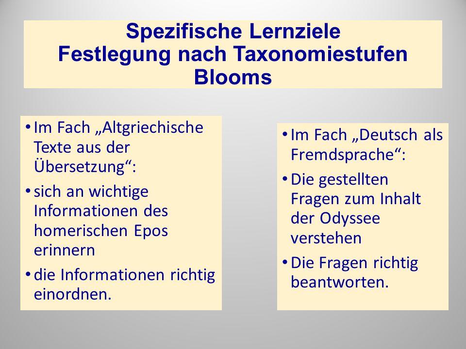 Spezifische Lernziele Festlegung nach Taxonomiestufen Blooms