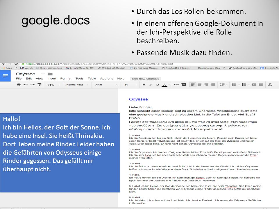 google.docs Durch das Los Rollen bekommen.