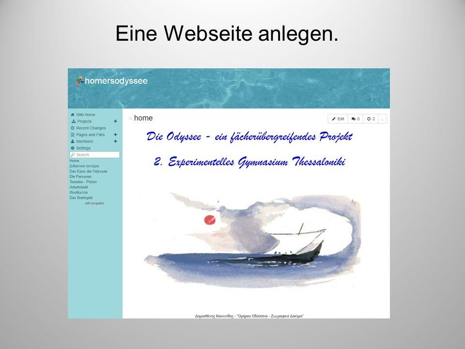 Eine Webseite anlegen. Es wurde schließlich eine Webseite angelegt, wo alle Materialien und Links hochgeladen wurden.