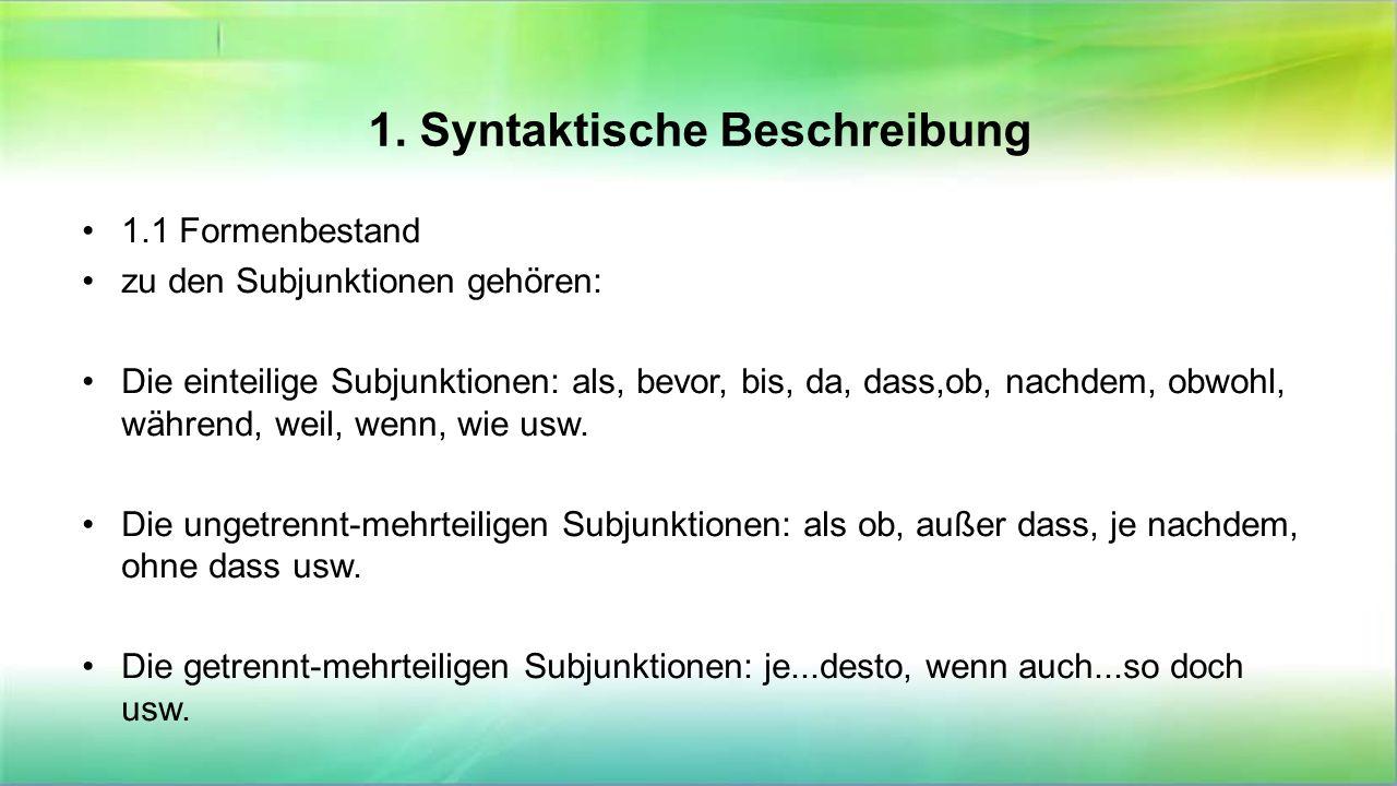 1. Syntaktische Beschreibung