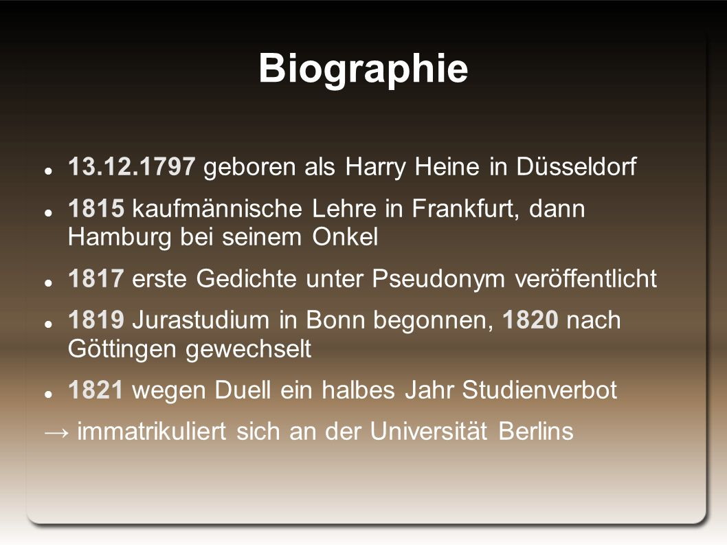 Biographie 13.12.1797 geboren als Harry Heine in Düsseldorf