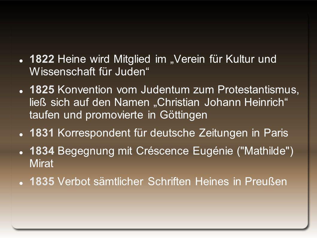 """1822 Heine wird Mitglied im """"Verein für Kultur und Wissenschaft für Juden"""