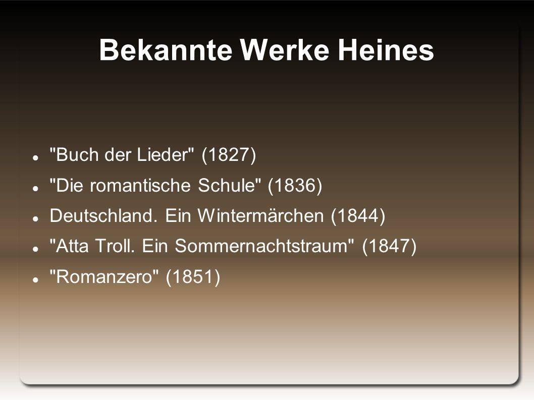 Bekannte Werke Heines Buch der Lieder (1827)