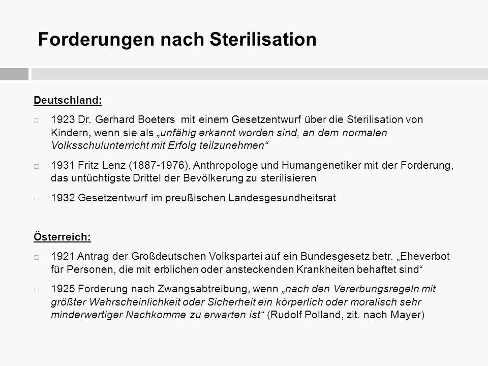 Forderungen nach Sterilisation