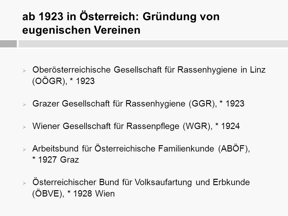 ab 1923 in Österreich: Gründung von eugenischen Vereinen
