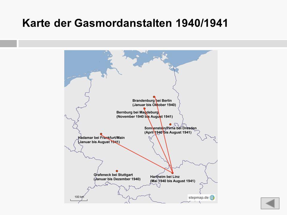 Karte der Gasmordanstalten 1940/1941