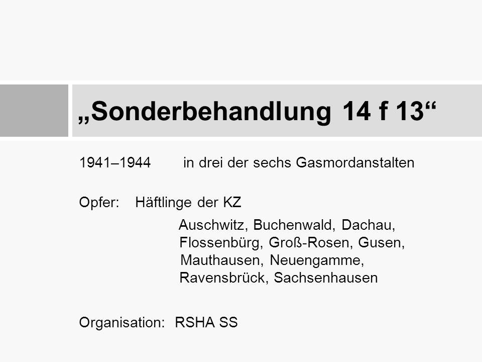"""""""Sonderbehandlung 14 f 13 1941–1944 in drei der sechs Gasmordanstalten. Opfer: Häftlinge der KZ."""