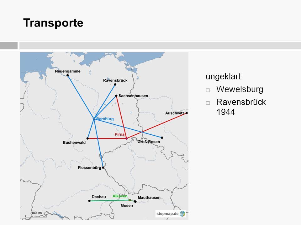 Transporte ungeklärt: Wewelsburg Ravensbrück 1944