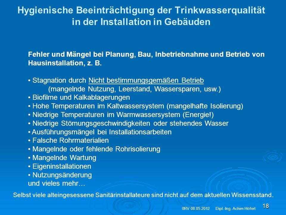 Hygienische Beeinträchtigung der Trinkwasserqualität in der Installation in Gebäuden
