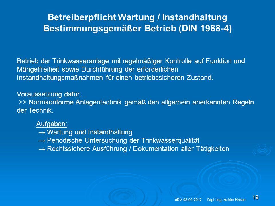 Betreiberpflicht Wartung / Instandhaltung Bestimmungsgemäßer Betrieb (DIN 1988-4)
