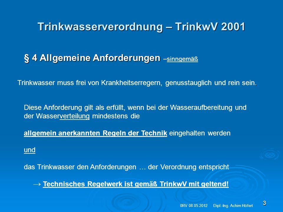Trinkwasserverordnung – TrinkwV 2001