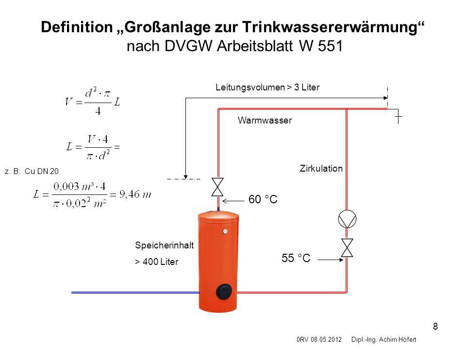 """Definition """"Großanlage zur Trinkwassererwärmung nach DVGW Arbeitsblatt W 551"""
