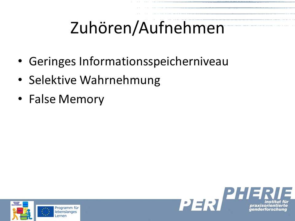 Zuhören/Aufnehmen Geringes Informationsspeicherniveau