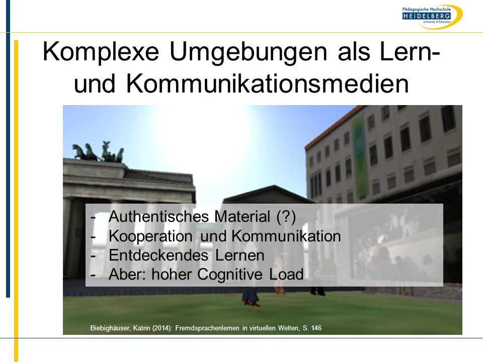 Komplexe Umgebungen als Lern- und Kommunikationsmedien