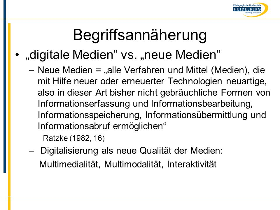 """Begriffsannäherung """"digitale Medien vs. """"neue Medien"""
