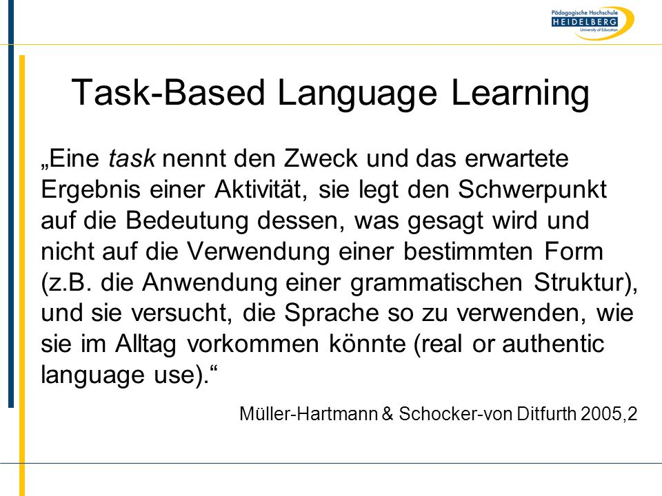 Task-Based Language Learning