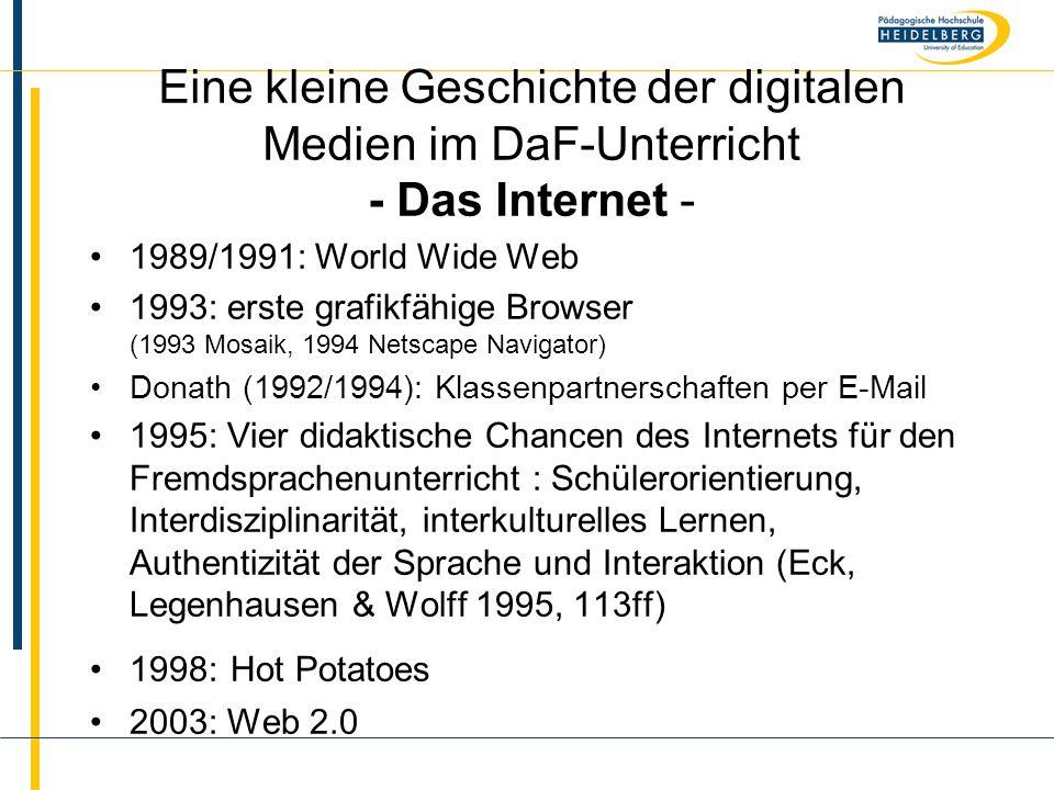 Eine kleine Geschichte der digitalen Medien im DaF-Unterricht - Das Internet -