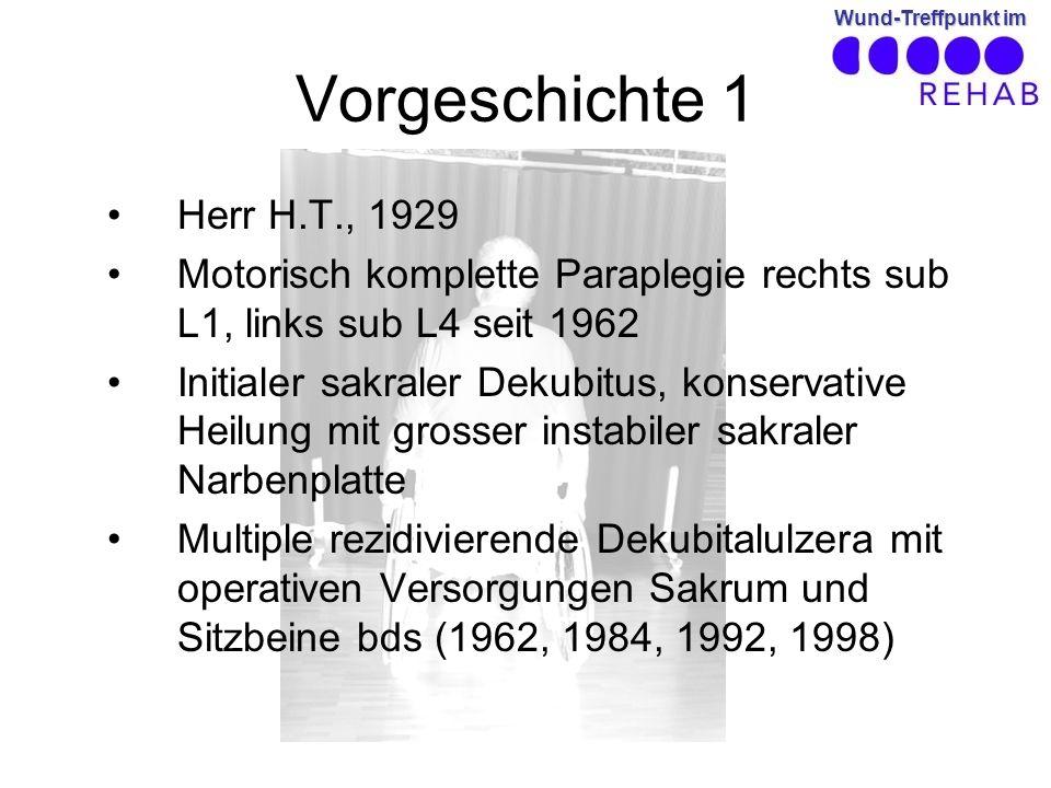 Vorgeschichte 1 Herr H.T., 1929. Motorisch komplette Paraplegie rechts sub L1, links sub L4 seit 1962.