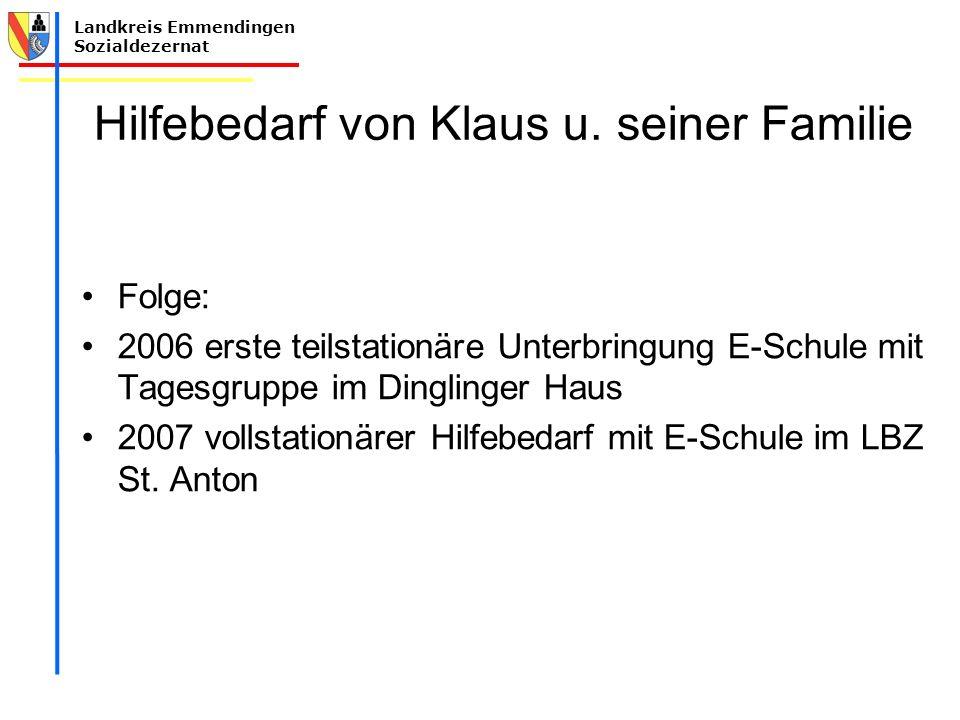 Hilfebedarf von Klaus u. seiner Familie