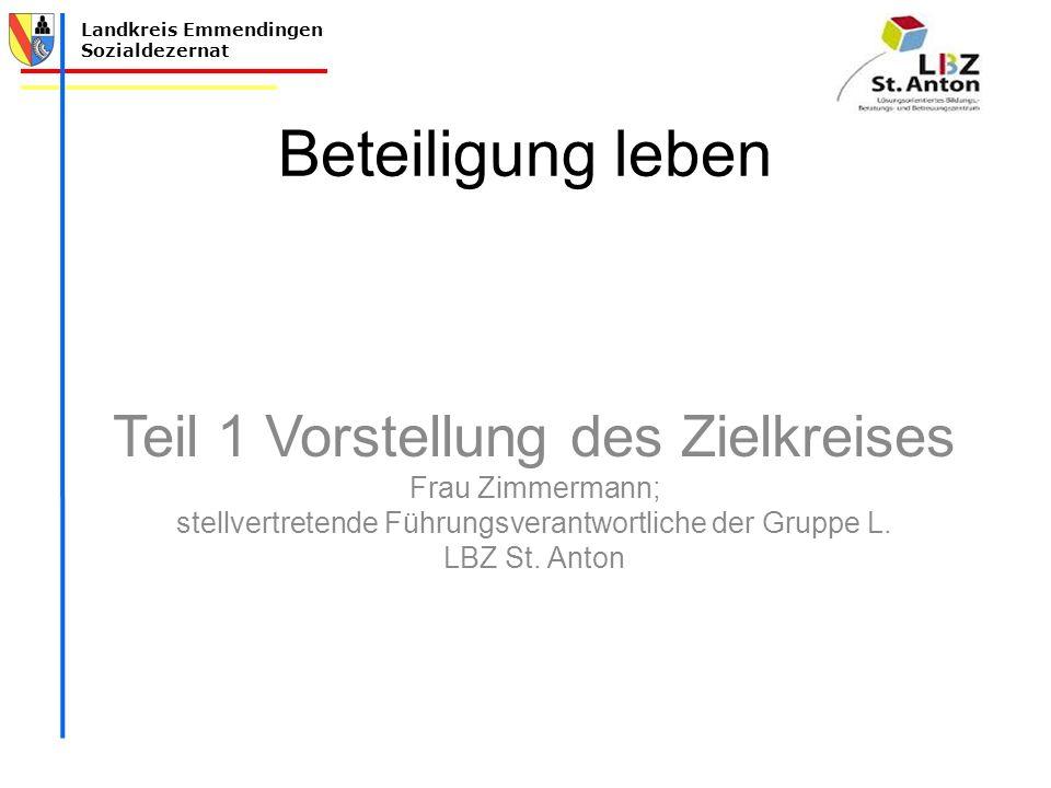 Beteiligung leben Teil 1 Vorstellung des Zielkreises Frau Zimmermann;
