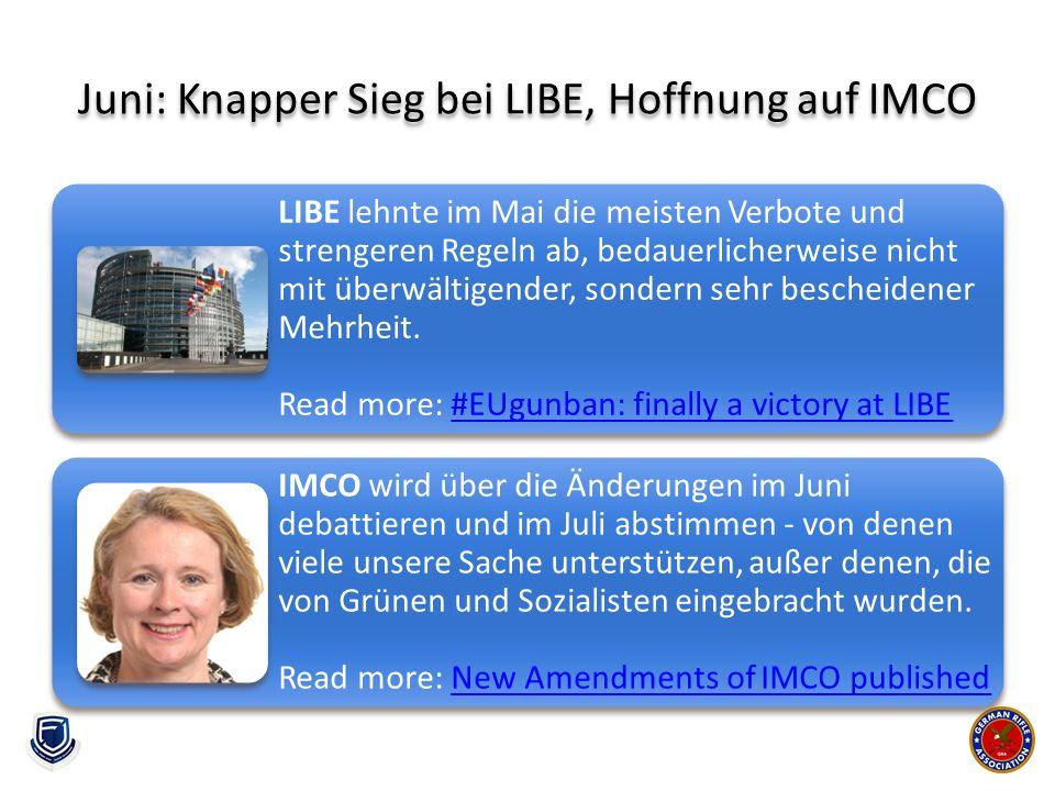 Juni: Knapper Sieg bei LIBE, Hoffnung auf IMCO