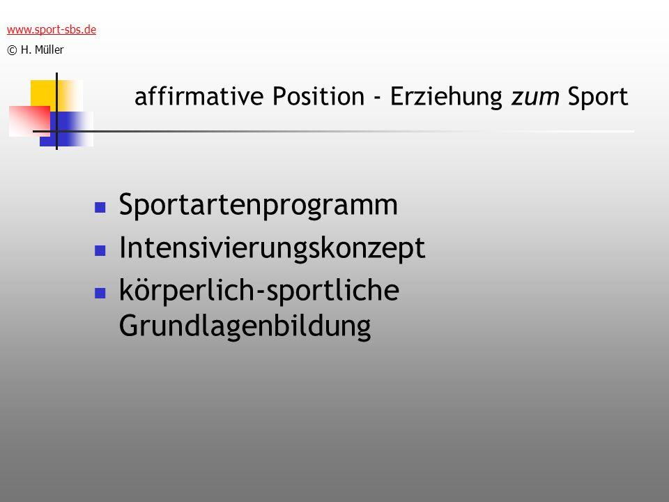 affirmative Position - Erziehung zum Sport
