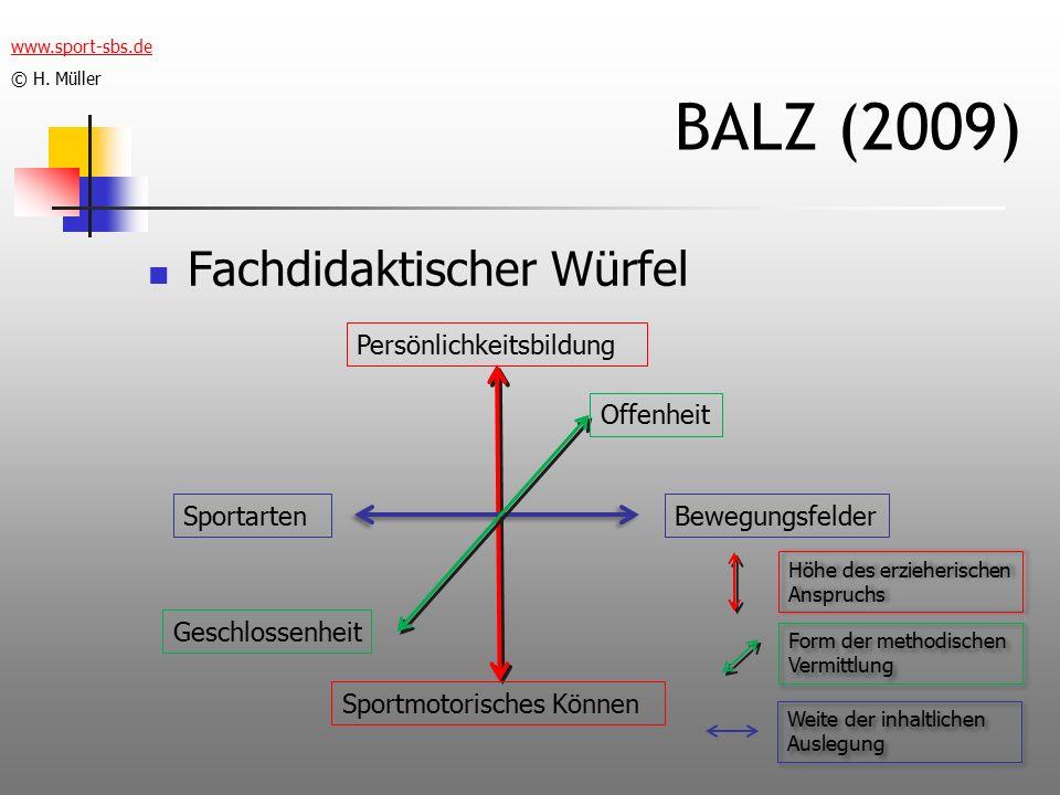 BALZ (2009) Fachdidaktischer Würfel Persönlichkeitsbildung Offenheit