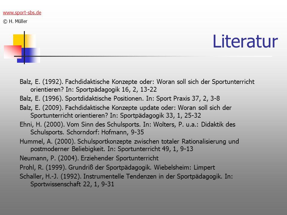 www.sport-sbs.de © H. Müller. Literatur.