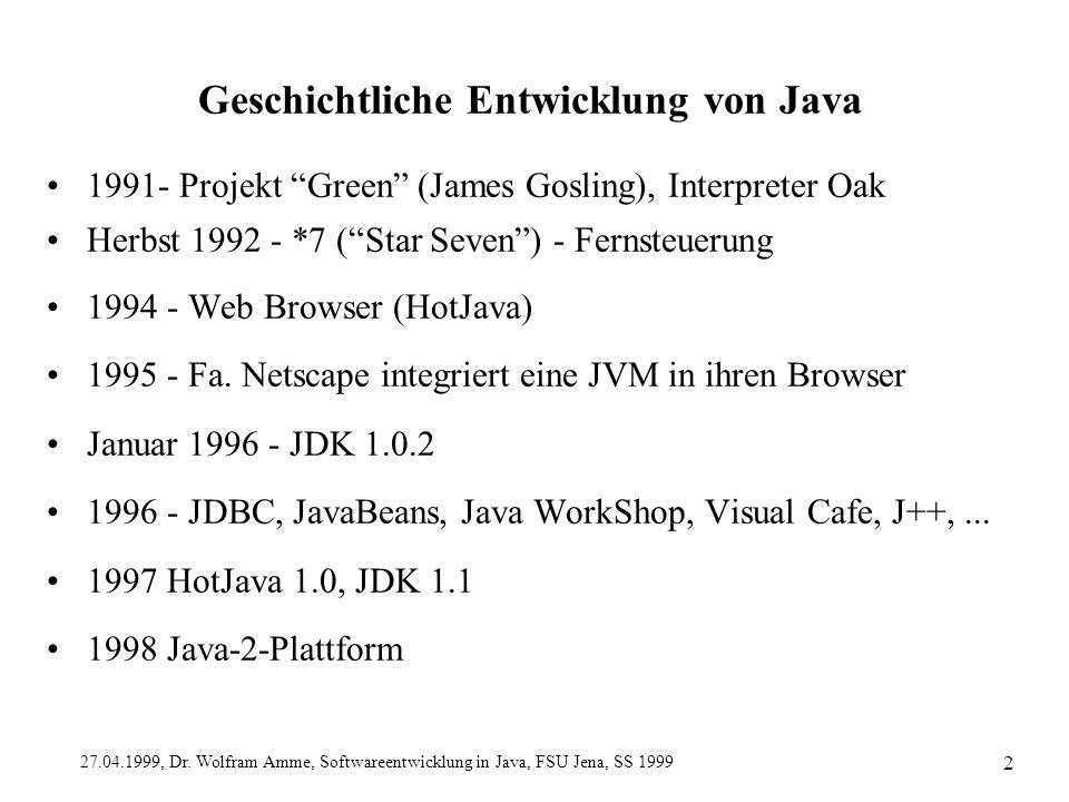 Geschichtliche Entwicklung von Java