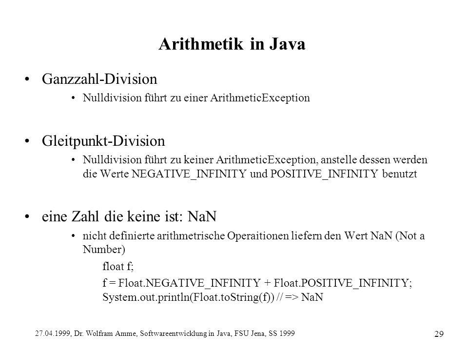 Arithmetik in Java Ganzzahl-Division Gleitpunkt-Division