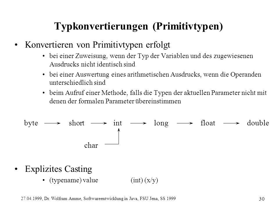 Typkonvertierungen (Primitivtypen)