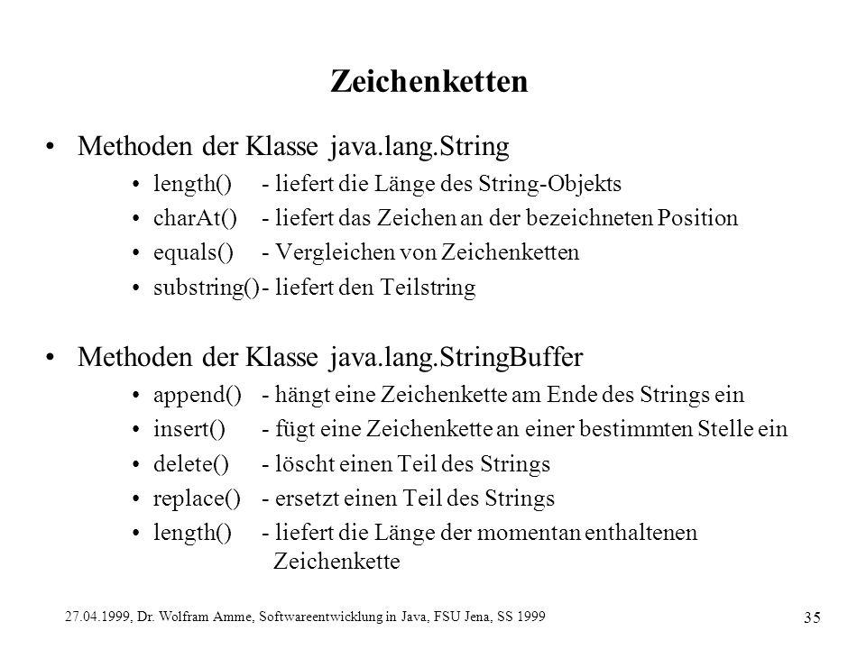 Zeichenketten Methoden der Klasse java.lang.String
